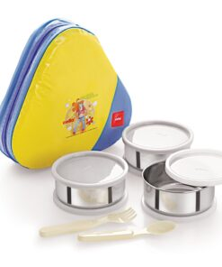 Cello Eat-N-Eat 3 Plastic Container Lunch Packs, Yellow 14